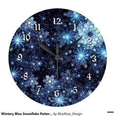 Shop Wintery Blue Snowflake Pattern Wall Clock created by BlueRose_Design. Christmas Items, Christmas Decor, Cute Room Decor, Wall Decor, Snowflake Pattern, Wall Patterns, Wall Clocks, Wallpaper S, Wall Murals