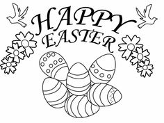 Eggs, flowers, and doves Happy Easter coloring page