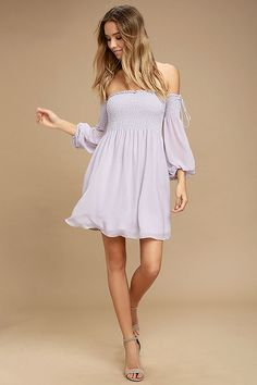 f3f8027f265a Dusted Skies Lavender Off-the-Shoulder Dress