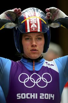Kate Hansen of the United States looks on prior to a Women's luge run during a training session ahead of the Sochi 2014 Winter Olympics at t...