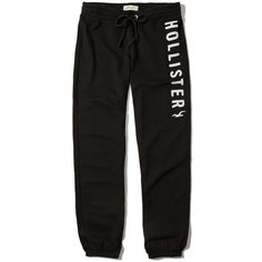 Hollister Logo Banded Sweatpants (€33) ❤ liked on Polyvore featuring activewear, activewear pants, pants, black, logo sweatpants, fleece sweat pants, fleece sweatpants, sweat pants and logo sportswear