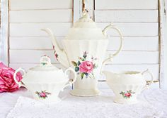 Vintage Spode Billingsley Rose Coffee Set: Tea Party Set, Rose Tea Set, Vintage Tea Set, English Tea Set, Pretty Coffee Set