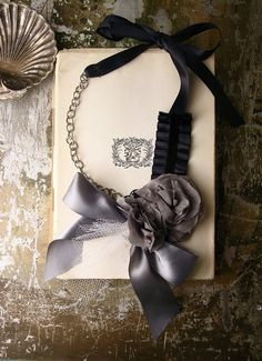 statement necklace - grey ribbon and floral with tulle necklace  - fleur de sel gris. whiteowl via Etsy.