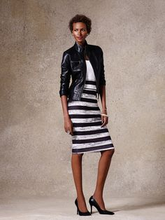 Biker chic #ootdown it now:-moto jacket-top-b&w stripe pencil-heels