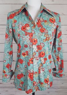 ebbc0112bde62 Vintage Sears Blouse Floral Size 12 Perma-prest Button Down 100 Polyester  for sale online