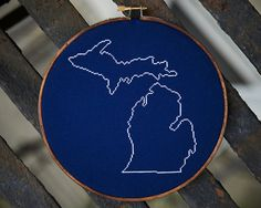My favorite birthday present this year!   michigan state map cross stitch by sarah bonk stitches