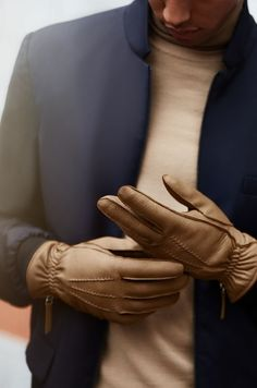 WANT Les Essentiels leather & cashmere gloves: