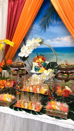 Tropical Vibes Themed Bridal Shower Dessert Table - Lilly is Love Aloha Party, Luau Theme Party, Moana Themed Party, Hawaiian Luau Party, Moana Birthday Party, Birthday Party Themes, Themed Parties, Beach Party, Thema Hawaii
