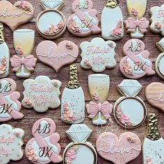 Find some good ideas for bridal shower cookies and wedding cookies to use for your wedding. Wedding Shower Cookies, Wedding Cake Cookies, Birthday Cookies, 30th Birthday, Birthday Ideas, Bridal Shower Wine, Gold Bridal Showers, Bachelorette Cookies, Engagement Cookies
