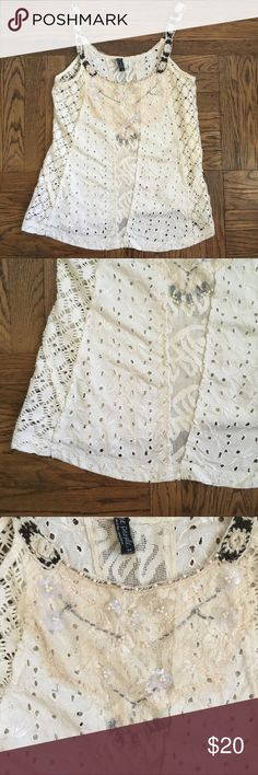 Free People White Crochet Lace Tank Top Medium Free People Size Medium Crochet Lace Beaded Embellished Tank Top White/Cream coloring no holes or stains, all beading intact, and in excellent used condition!  Always open to offers :) Free People Tops Tank Tops