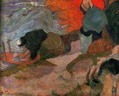 """""""Washerwomen"""", öl auf leinwand von Paul Gauguin (1848-1903, France)"""