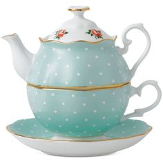 Royal Albert Polka Rose Tea Set for One ($80) ❤ liked on Polyvore featuring home, kitchen & dining, teapots, fillers, kitchen, food, tea, no color, royal albert and tea pot