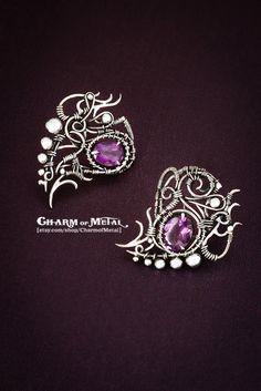 Ainulindale  Sterling silver 925 violet faceted door CharmofMetal