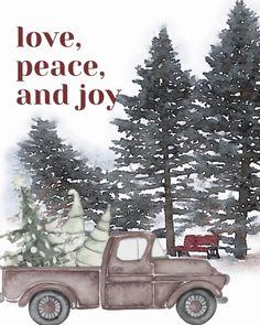 Christmas Red Truck, 12 Days Of Christmas, Christmas Is Coming, Christmas Photos, Merry Christmas Printable, Merry Christmas Banner, Free Christmas Printables, Christmas Decor, Free Printables