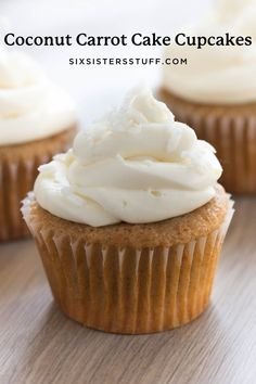 These Coconut Carrot Cake Cupcakes are what spring and summer dreams are made of. And the cream cheese frosting is just the cherry on top. You are going to love this combination. Lemon Blueberry Cupcakes, Carrot Cake Cupcakes, Cupcake Cookies, Six Sisters, Cupcake Recipes, Dessert Recipes, Cupcake Ideas, Easter Recipes, Easter Food