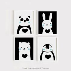 Printable Nursery Art Set of 4 Cute Animals art print Downlo… – Educational Toy Ideas Kids C, Art For Kids, Nursery Prints, Nursery Art, Motifs Textiles, Bunny And Bear, Kunst Poster, Bear Art, Animal Nursery