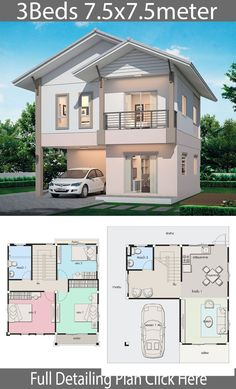 Haus Design Plan mit 3 Schlafzimmern Home Design with Plan Micro House Plans, Sims 4 House Plans, Duplex House Plans, Dream House Plans, Two Storey House Plans, Beach House Plans, Simple House Design, Modern House Design, 2 Storey House Design