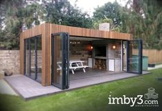 Shedworking, Kitchens pavillion Ran on the lines - That is how woman Leinen styles properly - Koid. Backyard Patio Designs, Backyard Landscaping, Backyard Ideas, Outdoor Rooms, Outdoor Living, Outdoor Kitchens, Garden Cabins, Terrace Design, Garden Design