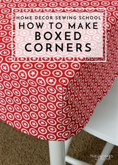 Sewing Techniques Couture Learn the simple sewing technique for giving a flat piece of fabric boxed corners to fit over tables, cushions and more! Sewing Hacks, Sewing Tutorials, Sewing Crafts, Sewing Tips, Sewing Ideas, Sewing Basics, Basic Sewing, Learn Sewing, Simple Sewing Machine