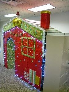 Christmas decor cubicle office decorations do it yourself office cubicles holiday decor ideas solutioingenieria Image collections