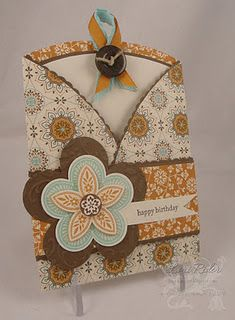 Lovely Trifold Pocket Card...in mustard & brown...Lori Rider: The Diva Stamper.