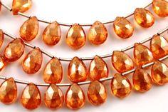 Natural orange topaz pear gemstone drop 8x11 mm 1 by Beadspoint, $52.99
