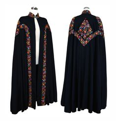 Extraordinary Vintage 1930s Black Embroidered Full Length Cloak Cape with Provenance by VintageDevotion on Etsy https://www.etsy.com/listing/182217724/extraordinary-vintage-1930s-black