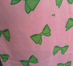 Detail of sweet bow print on VG sleeveless shift dress.  From ebay
