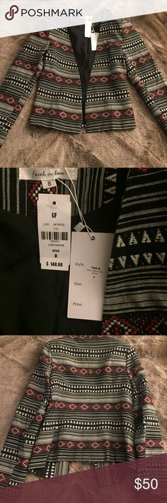 LF Printed Blazer Jacket XS 8 New! Black A very fun printed open blazer from LF. Size U.K. 8, which is a U.S. XS. Tags still attached. Padded shoulders, lined. LF Jackets & Coats Blazers
