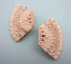 Vintage White Earrings Celluloid by Violasvintages on Etsy, $30.00