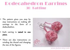 Tatting Pattern 3D Earrings
