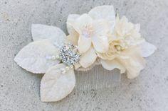 bridal comb with velvet flowers and rhinestone. $50.00, via Etsy.