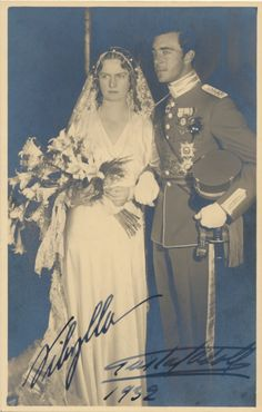 Prince Gustaf Adolf of Sweden and Princess Sybilla of Saxe Coburg. 1932