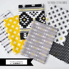 Four Corners Fabric Bundle - Black, White, Gray, Gold Metallic Arrow, Plus Sign and Aztec design by Simple Simon by SouthernStitchFabric