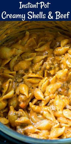 Instant Pot Creamy Shells and Beef is pure comfort food. This easy Instant Pot dinner recipe is so creamy and cheesy. Pasta shells and ground beef are cooked in a tomato sauce and then Parmesan cheese, cream, and cream cheese get mixed in. Top Recipes, Pasta Recipes, Cooking Recipes, Cooking Time, Cooking Classes, Healthy Recipes, Cheap Recipes, Dishes Recipes, Cooking Food