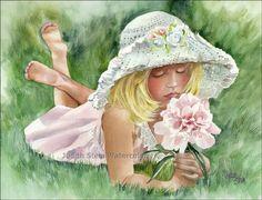 GIRL PEONY Flower Girl 15x11 Giclee Watercolor Art Print. $40.00, via Etsy.