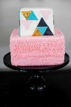 Modern Geometric Cake for Baby Shower - by Jenny Cookies!