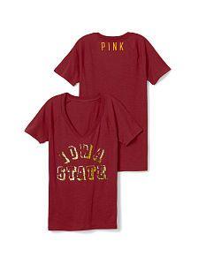 PINK Victoria/'s Secret College Boise State T Shirt Orange Bling Pocket VS XS S