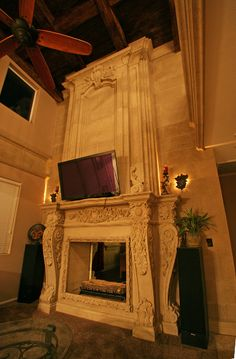 Fireplace Mantel and Over Mantel, Stone Veneer Pavers, Euro-Lite Hand Hewed Wood Beams and Planking, Custom Bronze Light Sconces Made by Realm of Design, In Las Vegas Fireplace Surrounds, Fireplace Mantels, Planking, Kitchen Hoods, Fireplace Accessories, Stone Veneer, Wood Beams, Sconce Lighting, Architectural Elements