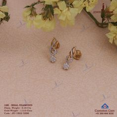 Get In Touch With us on Jewelry Design Earrings, Gold Earrings Designs, Small Earrings, Delicate Jewelry, Gold Filled Jewelry, Gold Jewelry, Diamond Earrings Indian, Diamond Jewelry, Trendy Jewelry
