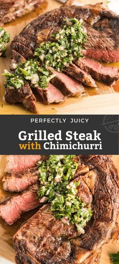 This Grilled Steak is mouthwatering tender, juicy and topped with the most flavorful garlic and herb Chimichurri sauce. This steak recipe can be on your table in 20 minutes! Plus tips for grilling the perfect most tender, juicy and flavorful steak at home! #grilled #grilling #ribeye #steak Best Grilled Steak, Grilled Steak Recipes, Beef Recipes, Vegan Recipes, Sizzle Steak Recipes, Grill Recipes, Summer Grilling Recipes, Summer Recipes, Holiday Recipes