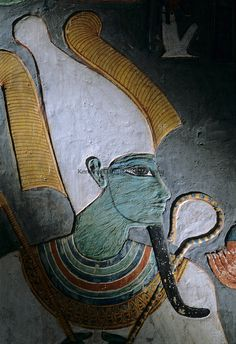 Painting of God Osiris, tomb of Horemheb; Valley of the Kings,Tutankhamun and the Golden Age of the Pharaohs
