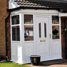 Scotland's top uPVC Porches available at extremely competitive prices. Affordable, long lasting uPVC Porches from Enviro look great on any home. House Front, Front Porch, Upvc Porches, Porch Extension, Porch Canopy, Porch Doors, Planning Permission, Main Door, Front Entrances