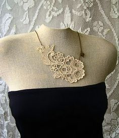 Lace necklaces made with fabric stiffener. Love love love!!