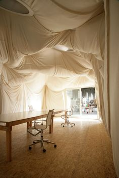 Fabric Room · Tord Boontje 'I have always been fascinated by the way a draped fabric folds itself in very organic shapes. For this room, the idea was… – Renovation – definition of renovation by The Free Dictionary Hanging Fabric, Draped Fabric, Scandinavian Style, Dining Room Drapes, Bed Drapes, Curtains, Drapery, Dining Rooms, Tord Boontje
