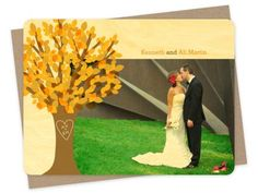 Spring wedding tree photo thank you cards on FSC certified sustainable wood! Tree Wedding, Autumn Wedding, Spring Wedding, Rustic Wedding, Wedding Ideas, Photo Thank You Cards, Spring Tree, Photo Tree, Wedding Decorations