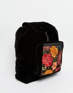Image 2 ofHiptipico Handmade Velvet Backpack With Floral Embroidery