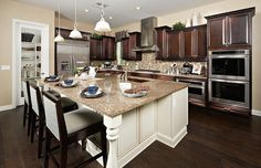 Love the cabinets, backsplash, flooring & island cabinet colors