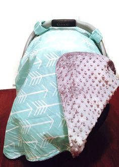 Gender Neutral Baby Carseat Canopy Mint u0026 Arrow Carseat Canopy Cover with Gray Minky Backing  sc 1 st  Pinterest & This is luxurious gender neutral baby carseat canopy. It is a mint ...