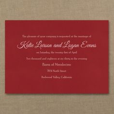 Red, White & Blue Wedding Ideas - Timeless Sophistication - Classic Invitation - Claret | Occasions In Print, LLC (Invitation Link - http://occasionsinprint.carlsoncraft.com/Wedding/Wedding-Invitations/3214-MM104132516-Timeless-Sophistication--Classic-Invitation--Claret.pro)
